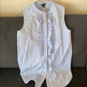 Baby blue sleeveless 100% cotton blouse